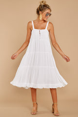 6 Thinking Out Loud White Midi Dress at reddressboutique.com