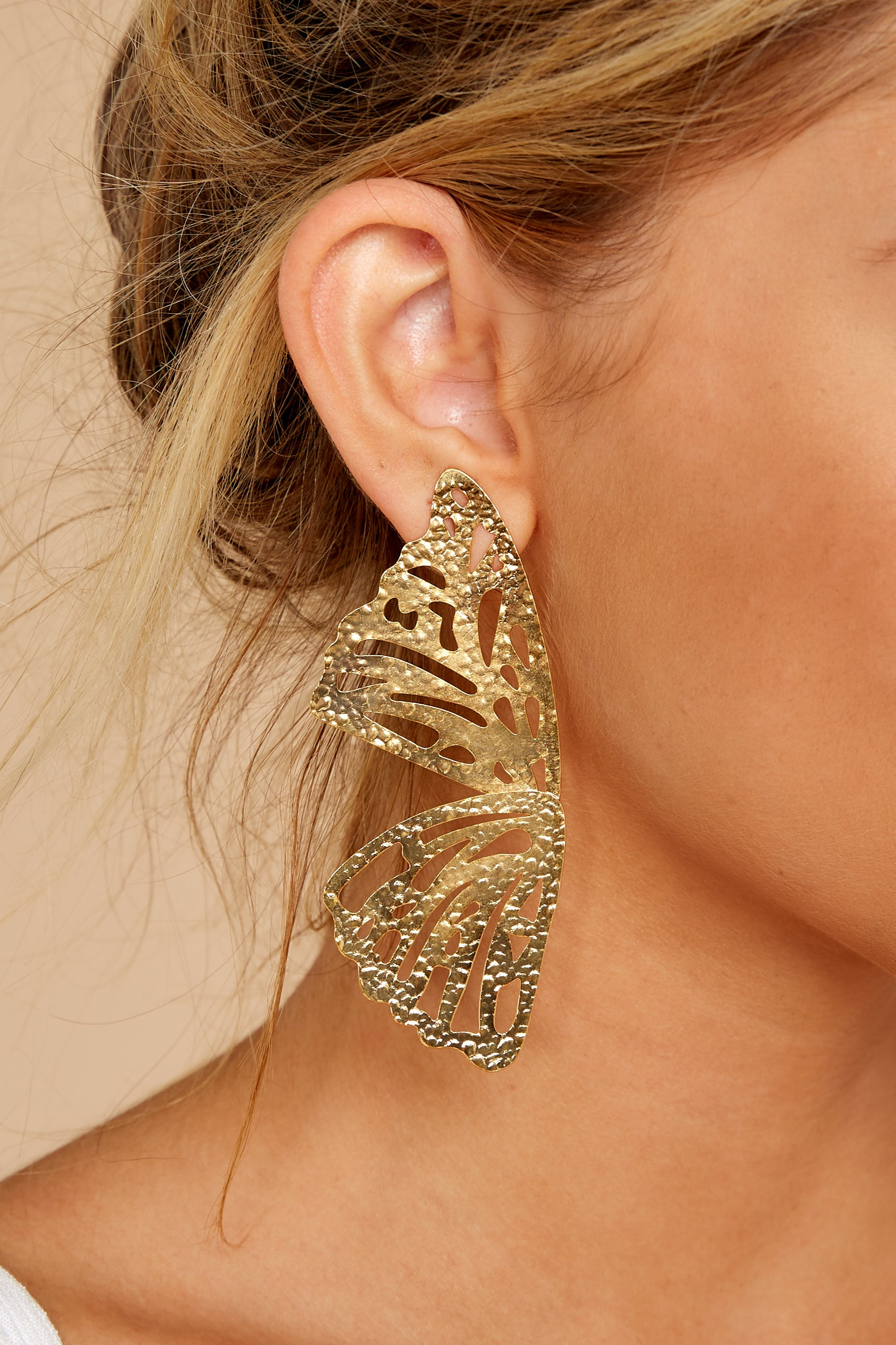 1 Butterfly To Me Gold Earrings at reddressboutique.com