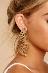 4 Butterfly To Me Gold Earrings at reddressboutique.com