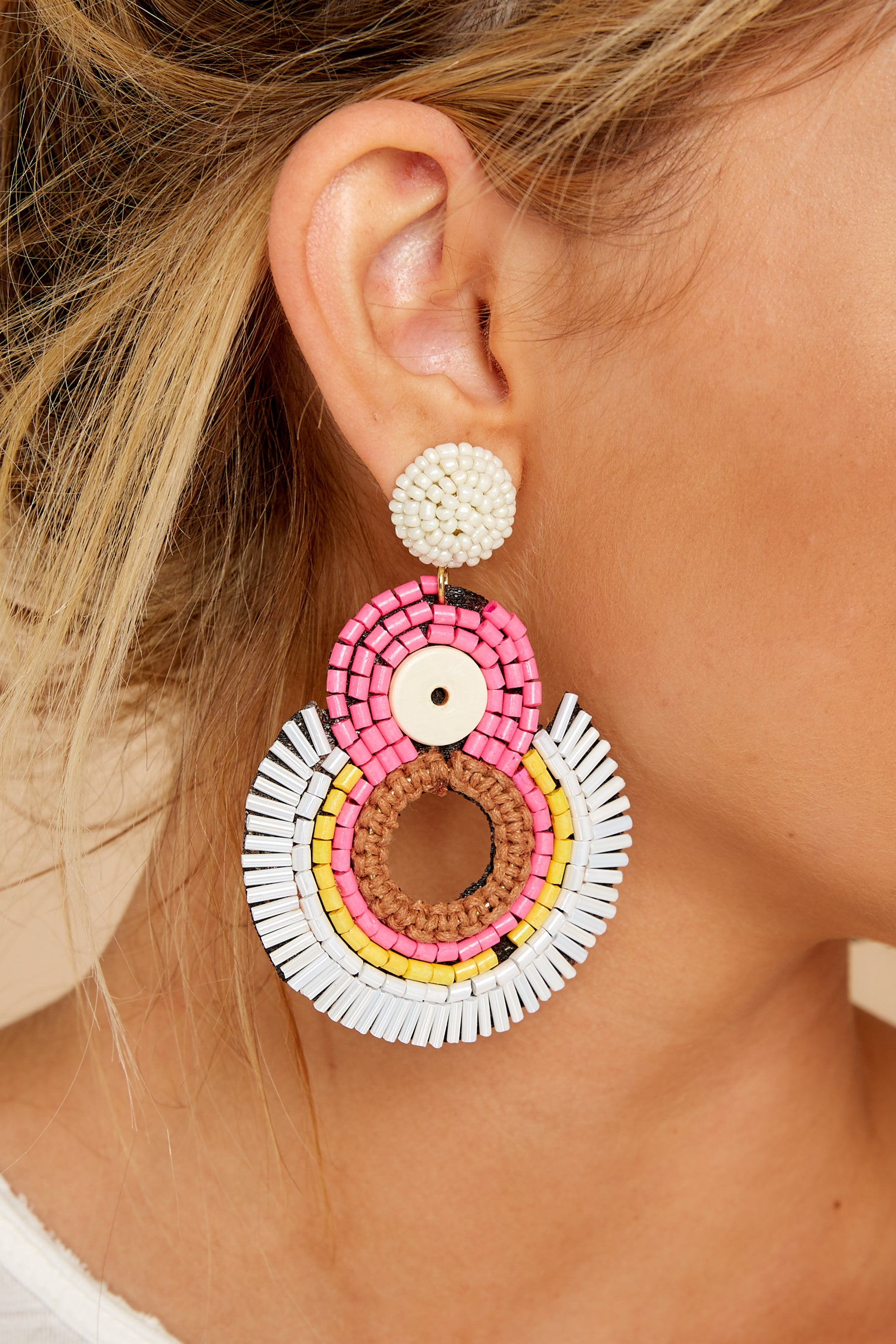 1 If I Was You Pink Multi Statement Earrings at reddressboutique.com