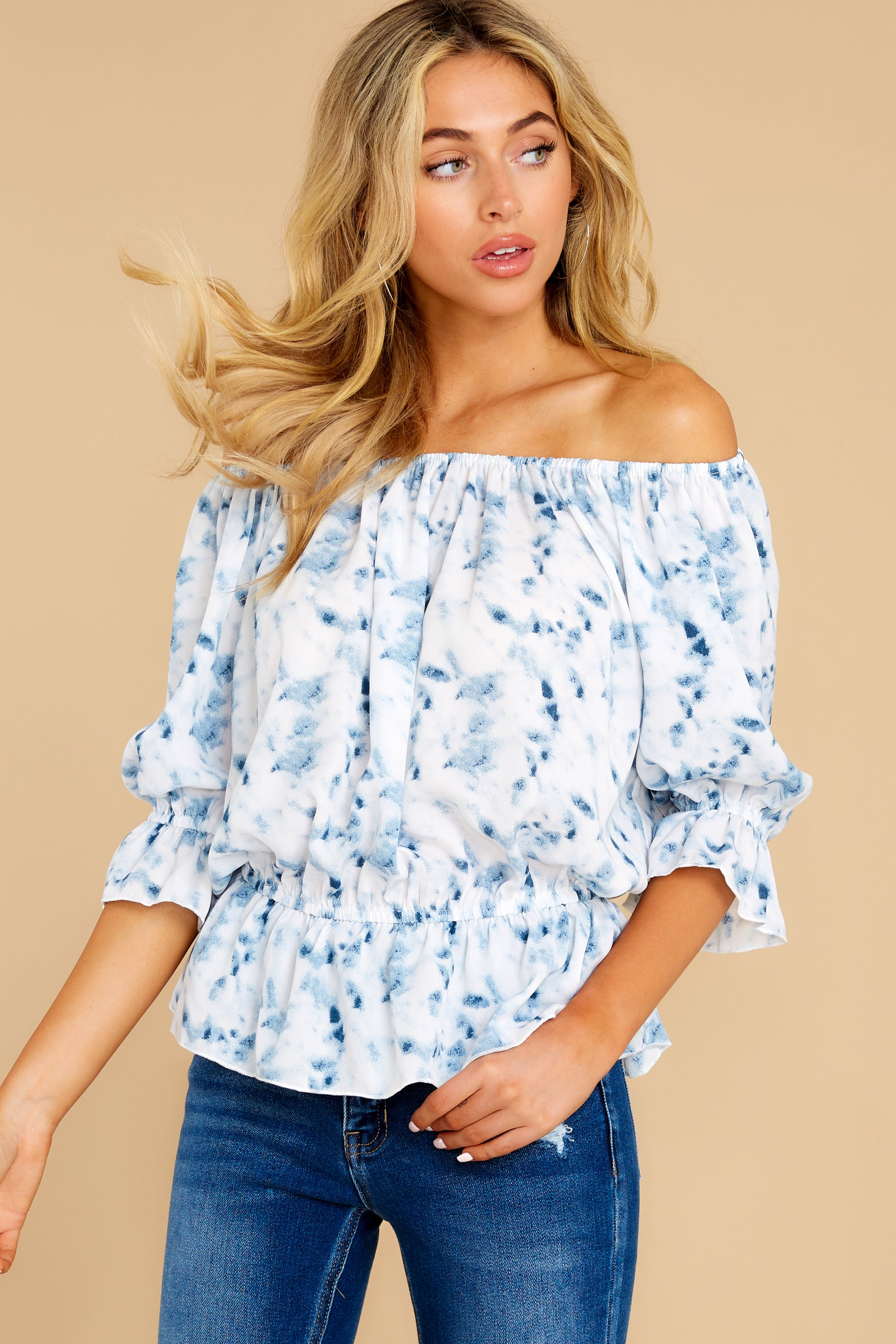 1 Up A Notch Blue Print Off The Shoulder Top at reddress.com