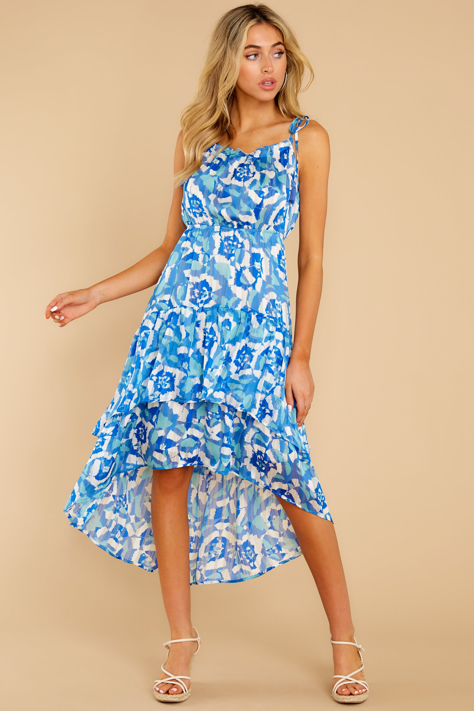 6 You'll See Blue Multi Print High-Low Dress at reddress.com