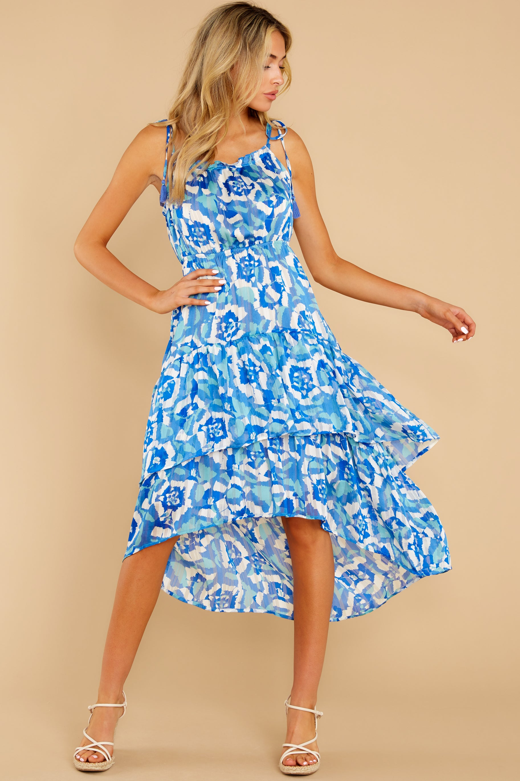 2 You'll See Blue Multi Print High-Low Dress at reddress.com
