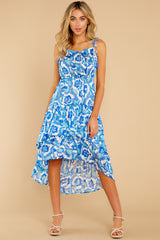 3 You'll See Blue Multi Print High-Low Dress at reddress.com
