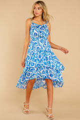 5 You'll See Blue Multi Print High-Low Dress at reddress.com
