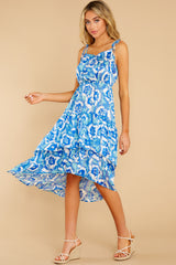 4 You'll See Blue Multi Print High-Low Dress at reddress.com