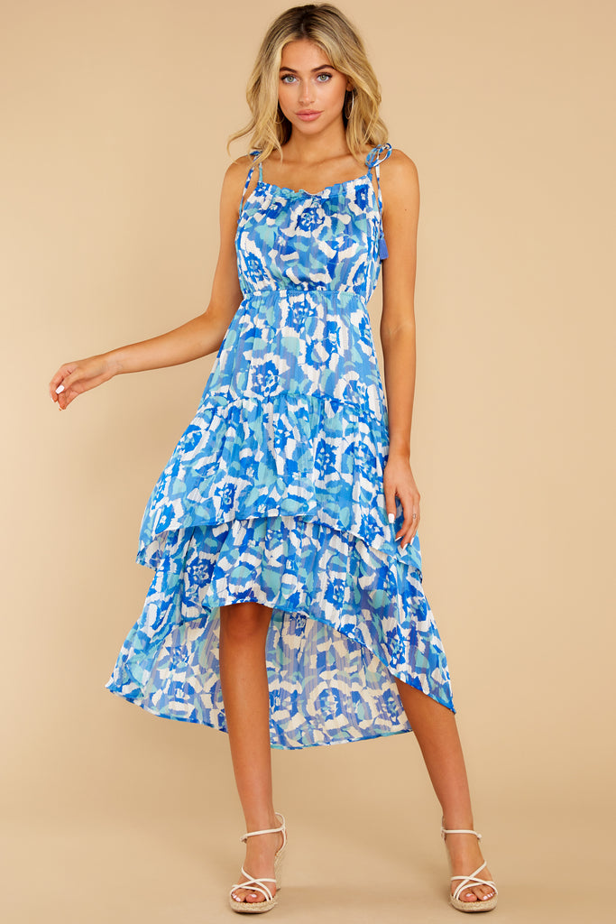 4 Nothing But Us Blue Floral Print Midi Dress at reddress.com