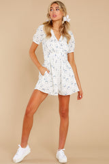 3 No Sweeter Love White Floral Print Romper at reddress.com
