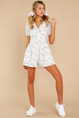 2 No Sweeter Love White Floral Print Romper at reddress.com