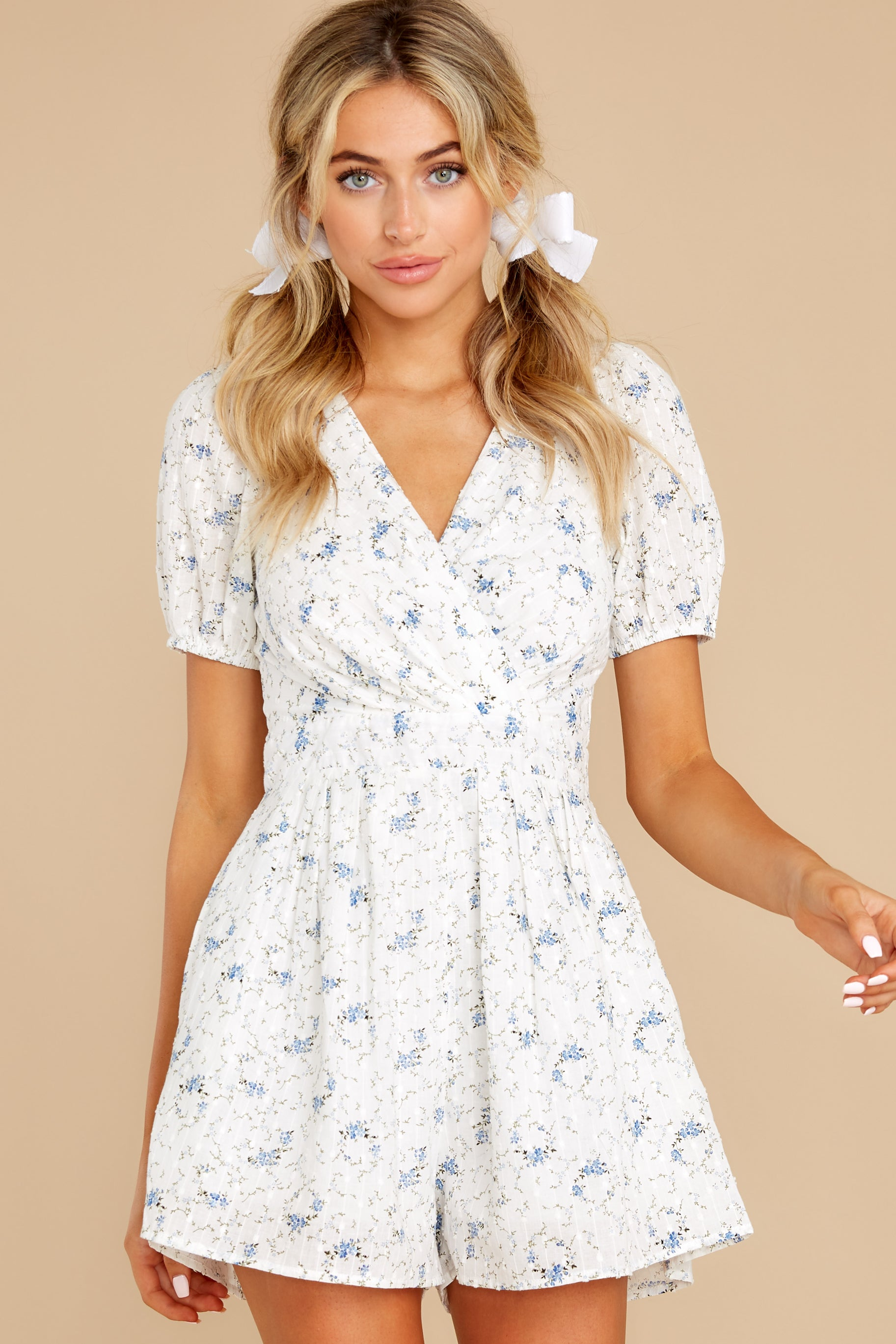 4 No Sweeter Love White Floral Print Romper at reddress.com