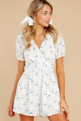 5 No Sweeter Love White Floral Print Romper at reddress.com