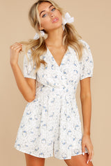 6 No Sweeter Love White Floral Print Romper at reddress.com