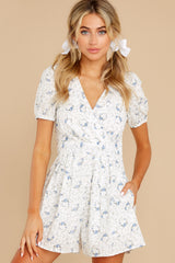 1 No Sweeter Love White Floral Print Romper at reddress.com