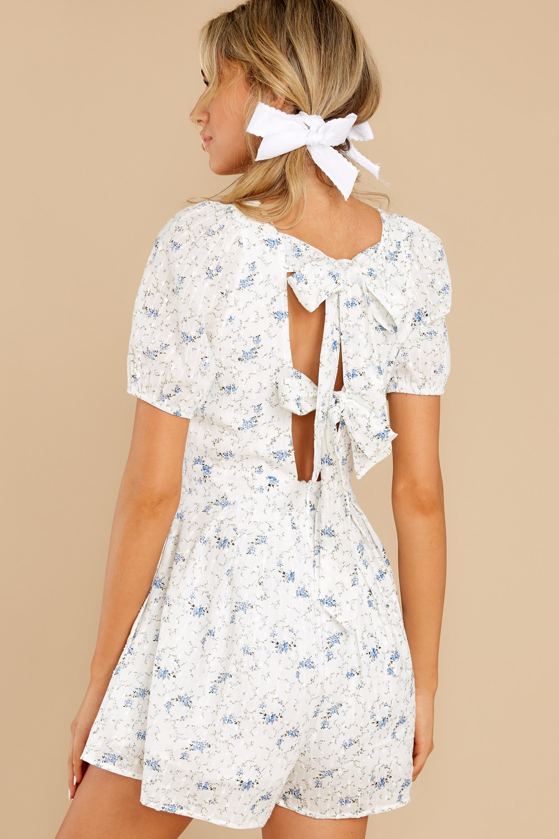 7 No Sweeter Love White Floral Print Romper at reddress.com