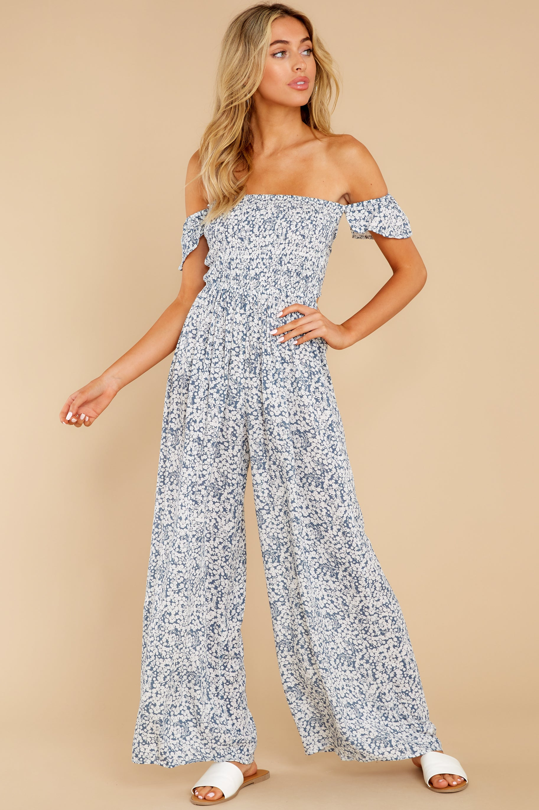 2 Reason To Believe Steel Blue Floral Print Jumpsuit at reddress.com