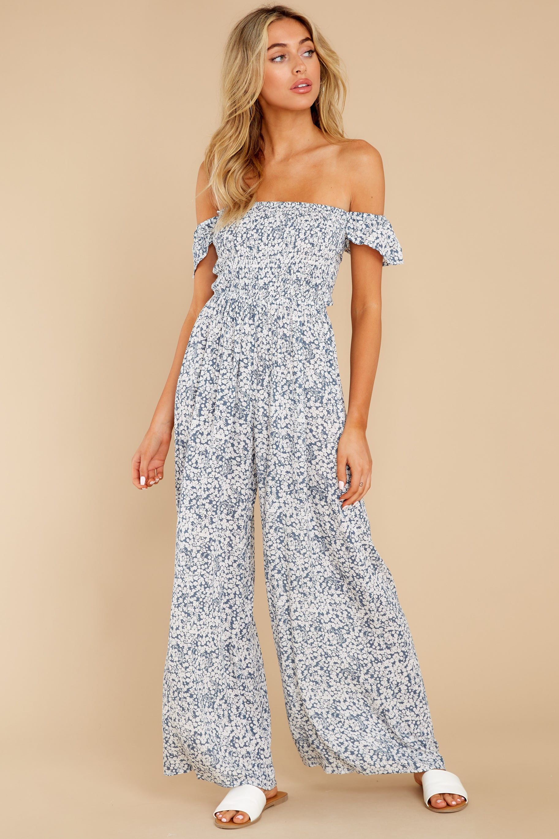 5 Reason To Believe Steel Blue Floral Print Jumpsuit at reddress.com