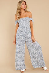 4 Reason To Believe Steel Blue Floral Print Jumpsuit at reddress.com