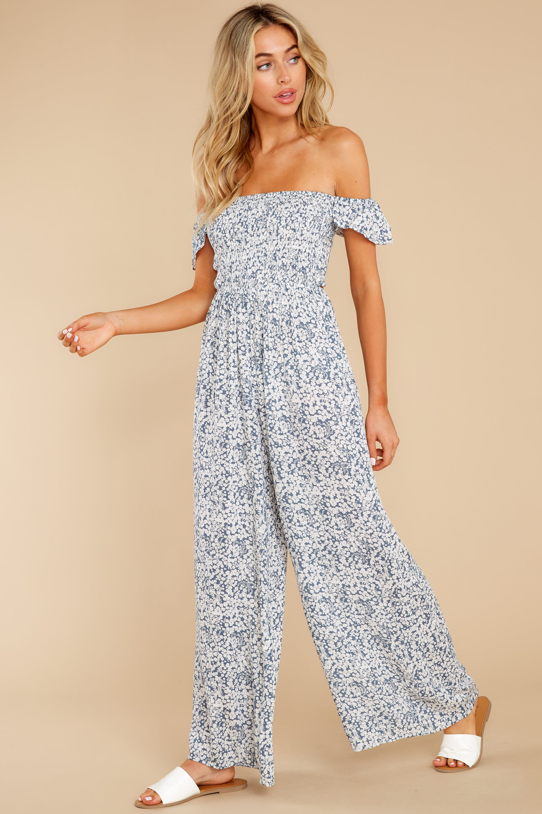 3 Reason To Believe Steel Blue Floral Print Jumpsuit at reddress.com