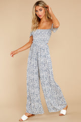 1 Reason To Believe Steel Blue Floral Print Jumpsuit at reddress.com