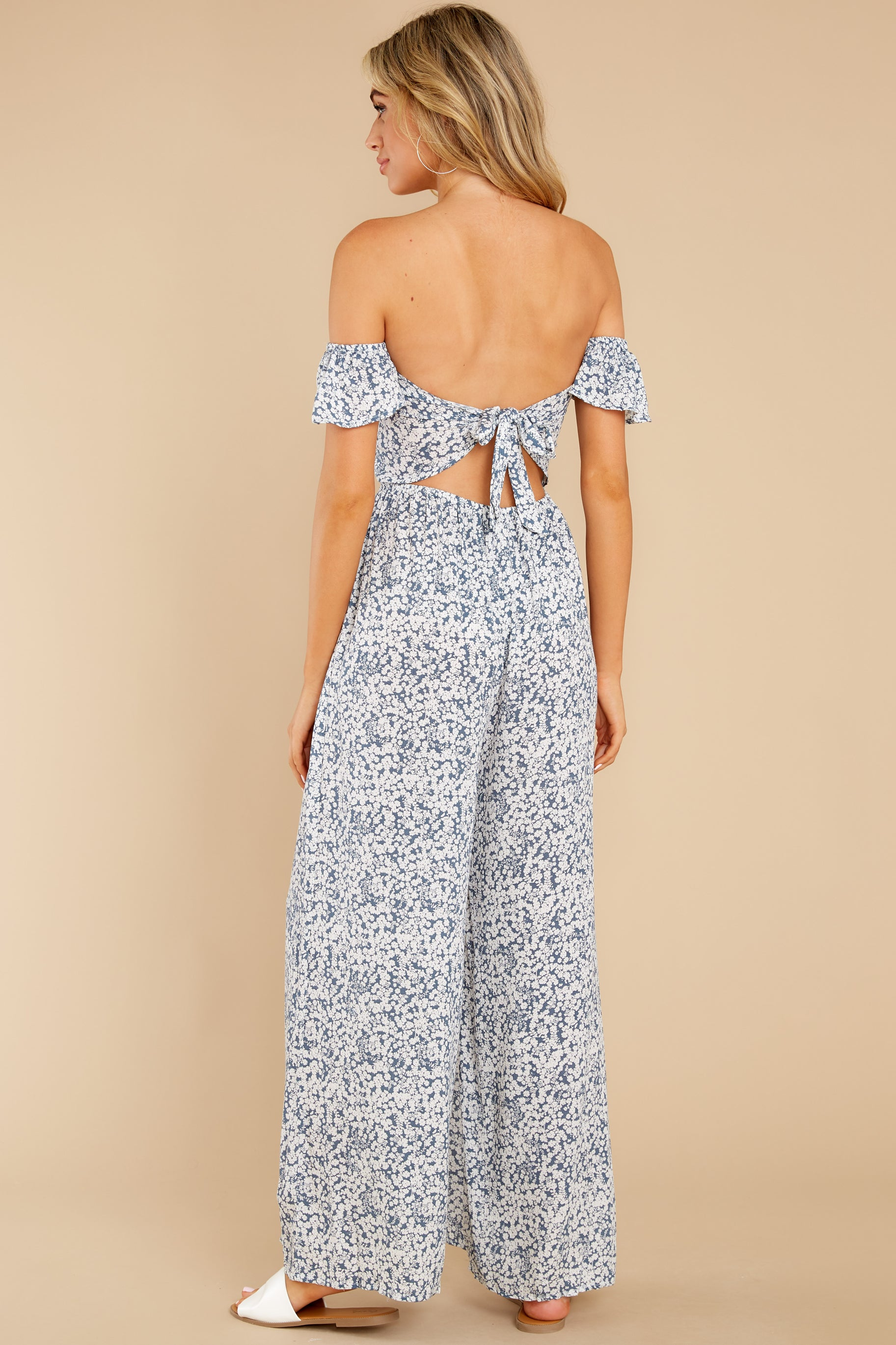 6 Reason To Believe Steel Blue Floral Print Jumpsuit at reddress.com