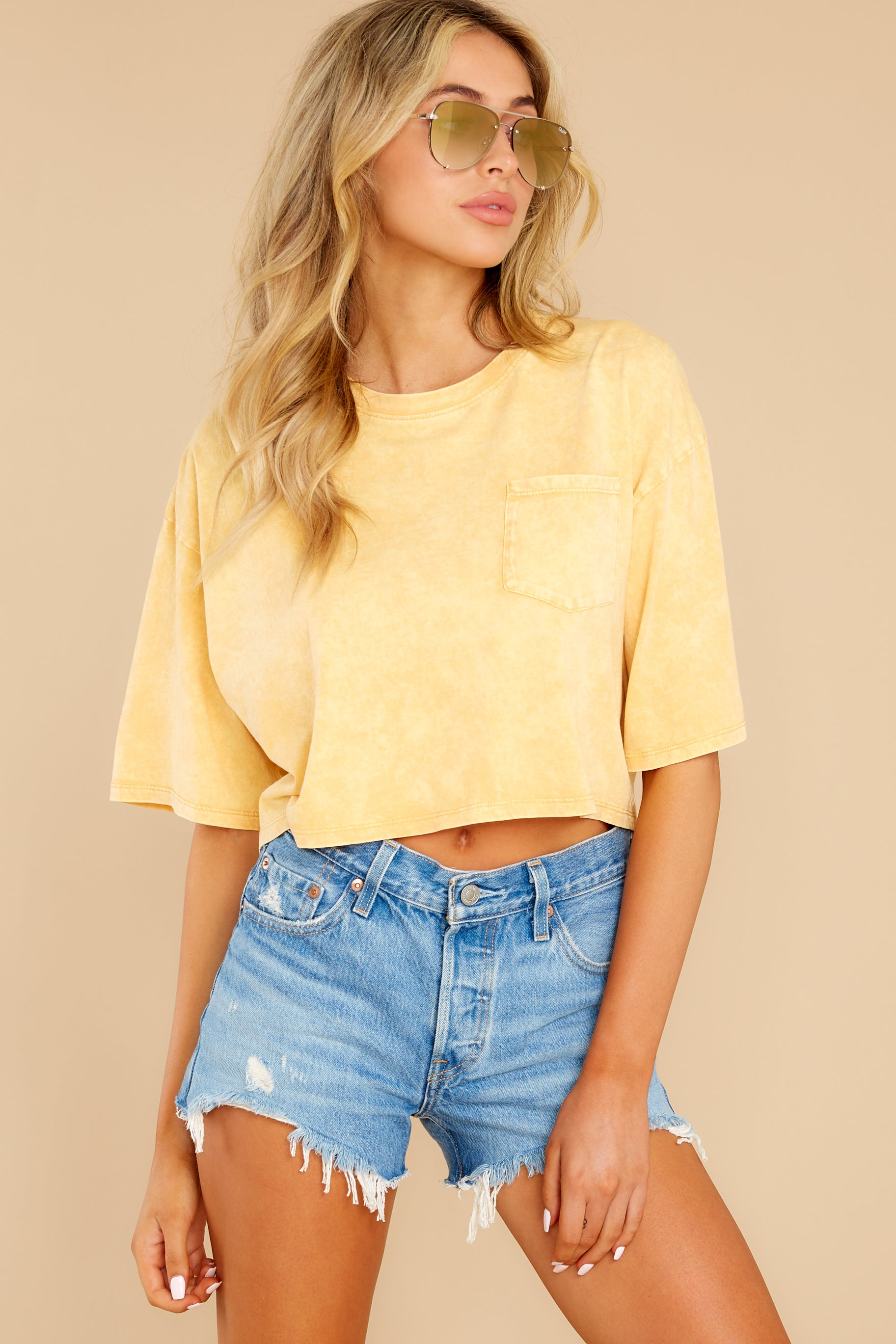 1 Resourceful To A Tee Yellow Crop Top at reddress.com