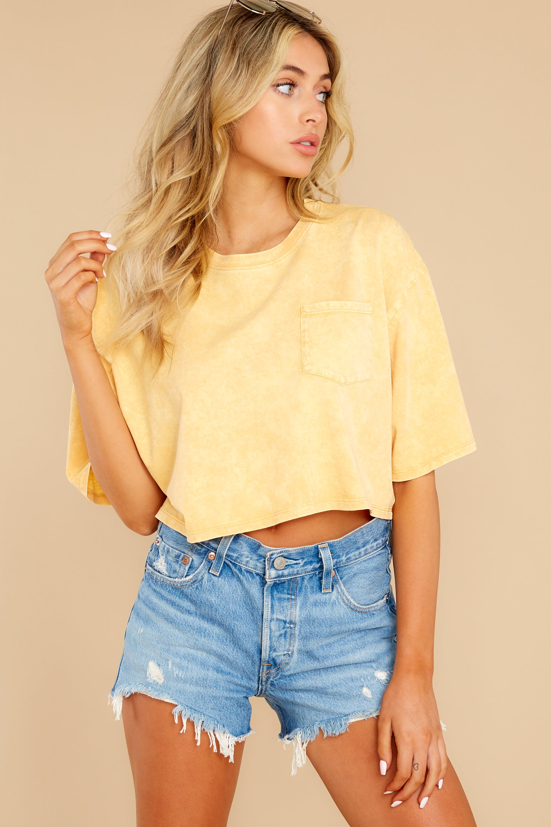 4 Resourceful To A Tee Yellow Crop Top at reddress.com