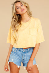 6 Resourceful To A Tee Yellow Crop Top at reddress.com