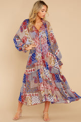 1 Head Over Feet Red And Blue Multi Print Cover Up Dress at reddress.com