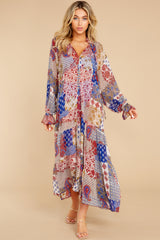 2 Head Over Feet Red And Blue Multi Print Cover Up Dress at reddress.com