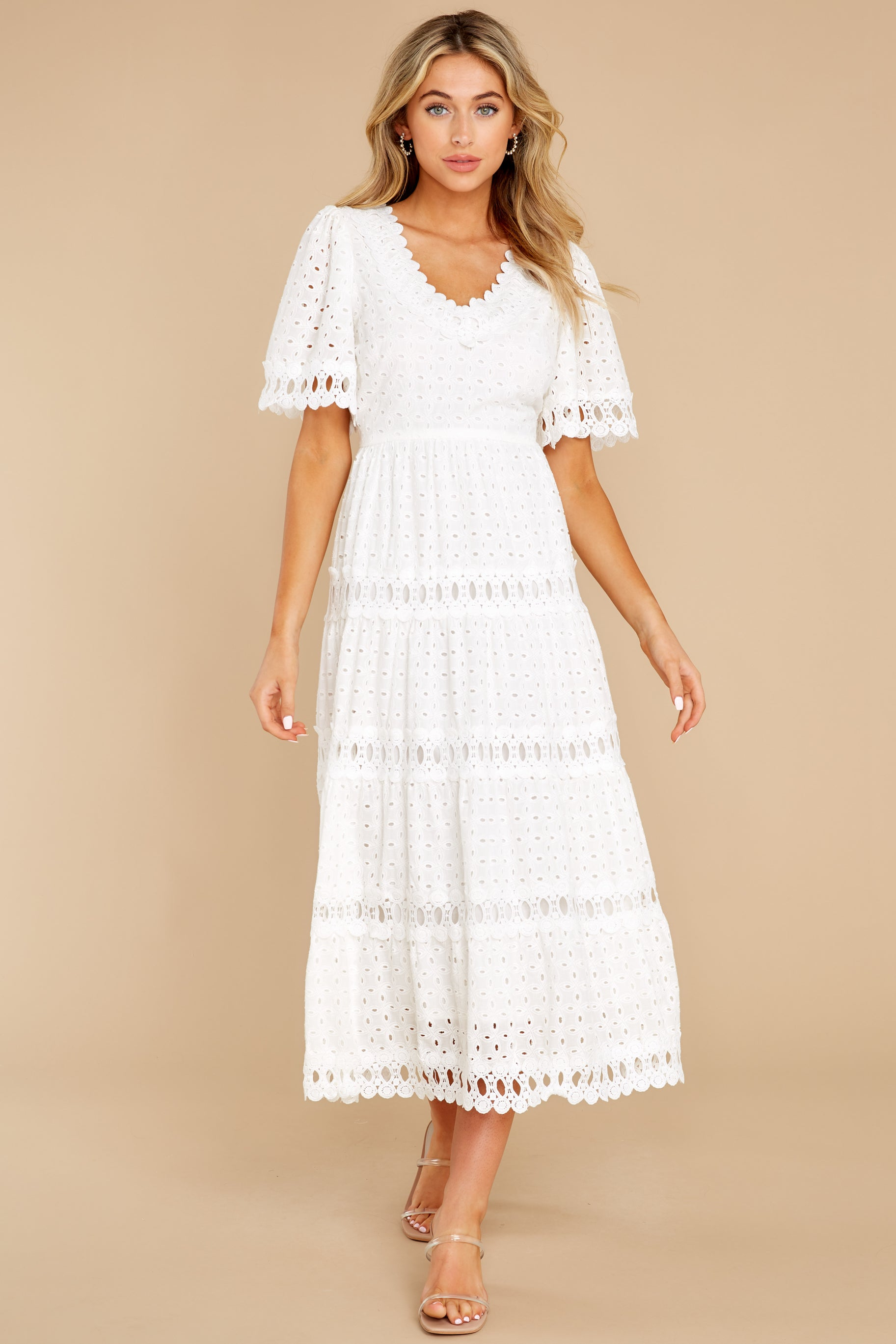 3 Couldn't Help It Off White Eyelet Maxi Dress at reddress.com
