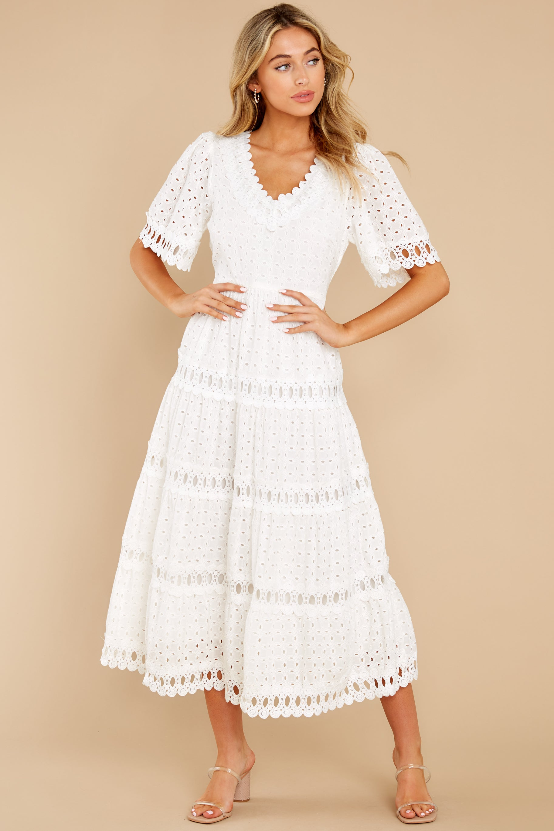 4 Couldn't Help It Off White Eyelet Maxi Dress at reddress.com