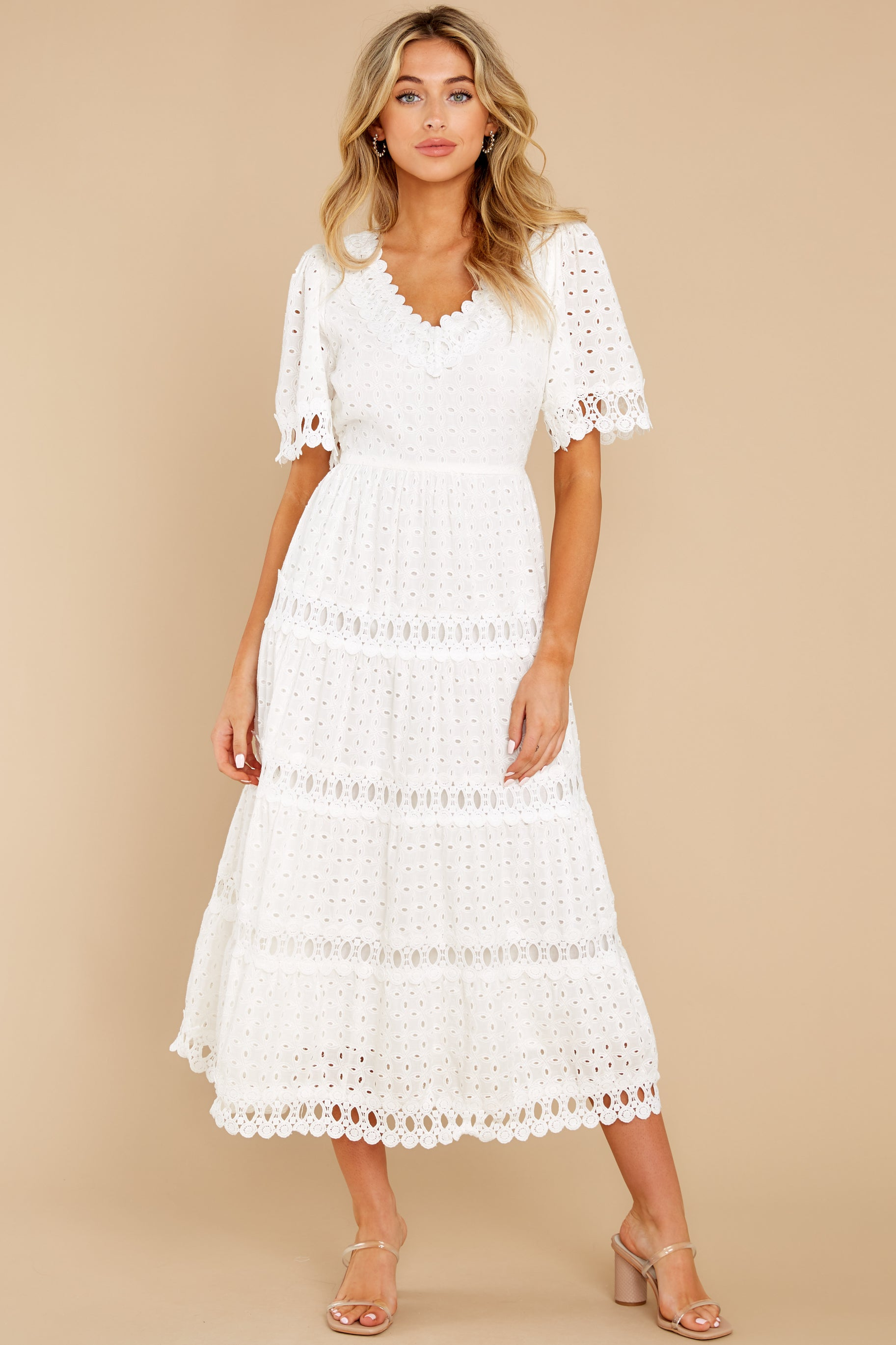 2 Couldn't Help It Off White Eyelet Maxi Dress at reddress.com
