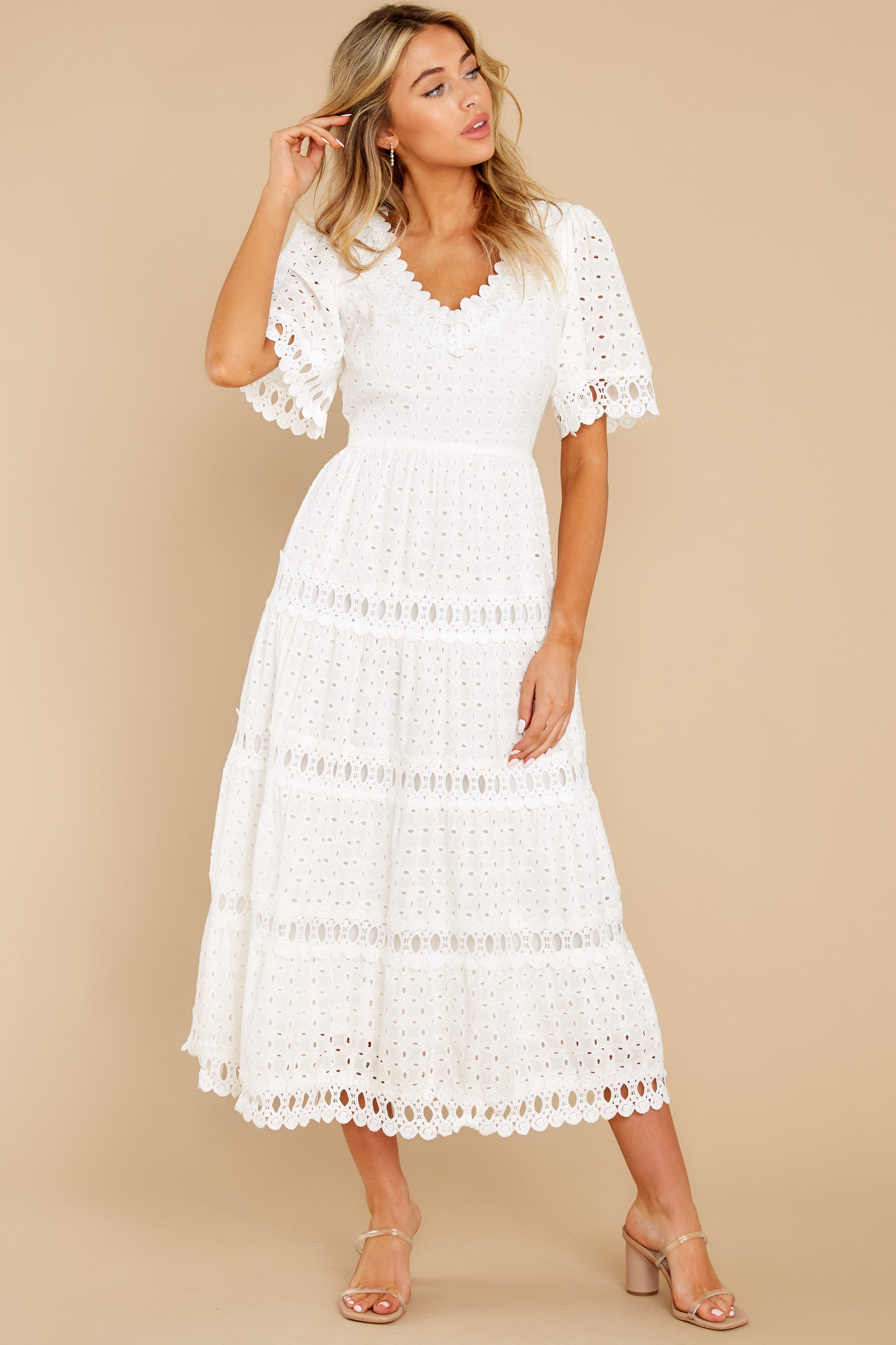 6 Couldn't Help It Off White Eyelet Maxi Dress at reddress.com