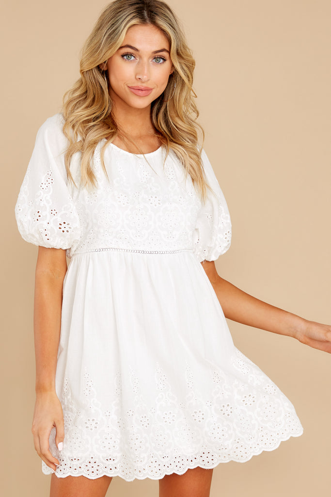 1 Always Me White Eyelet Lace Dress at reddress.com