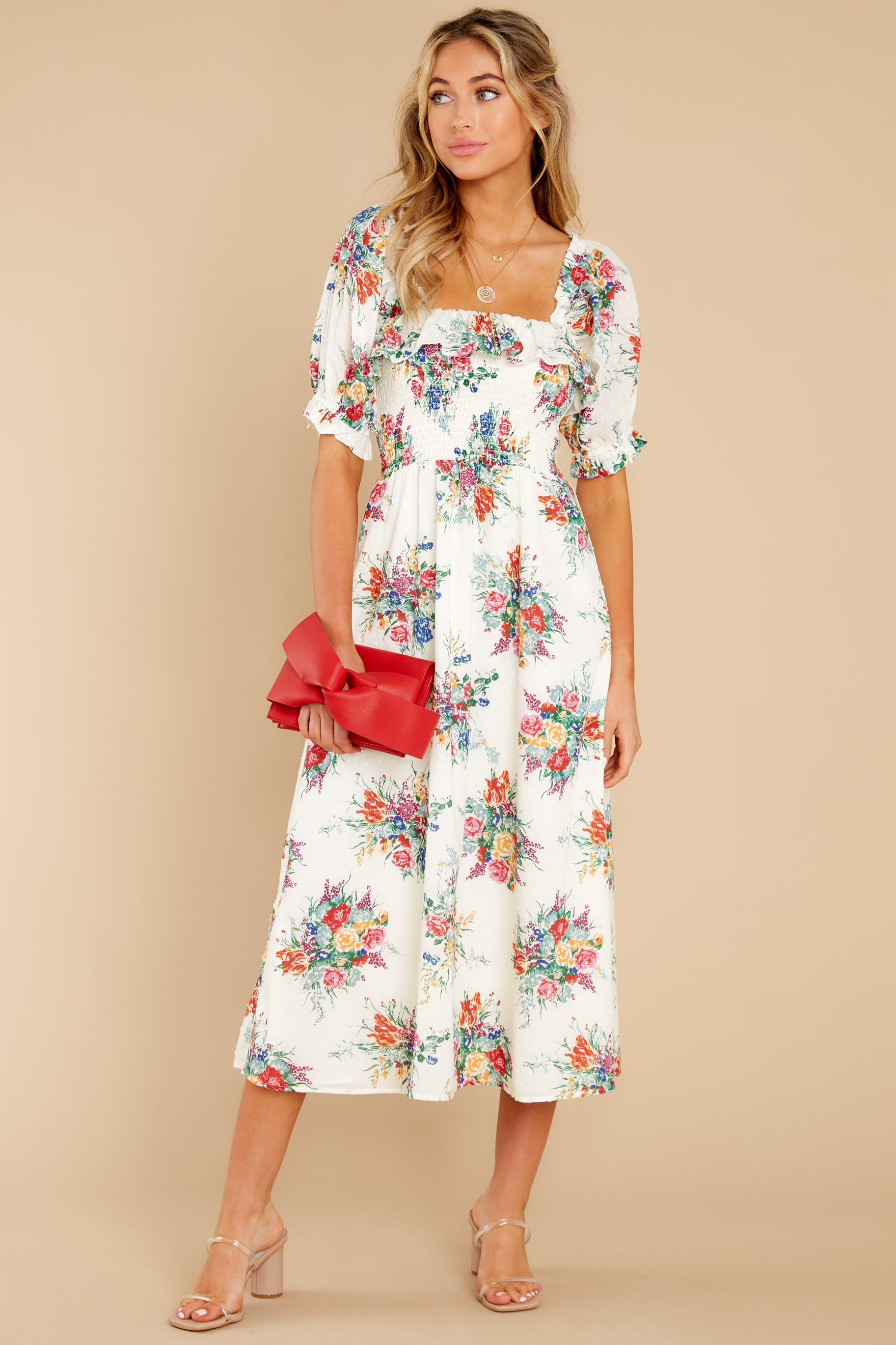 1 Sometime After Ivory Floral Print Maxi Dress at reddress.com