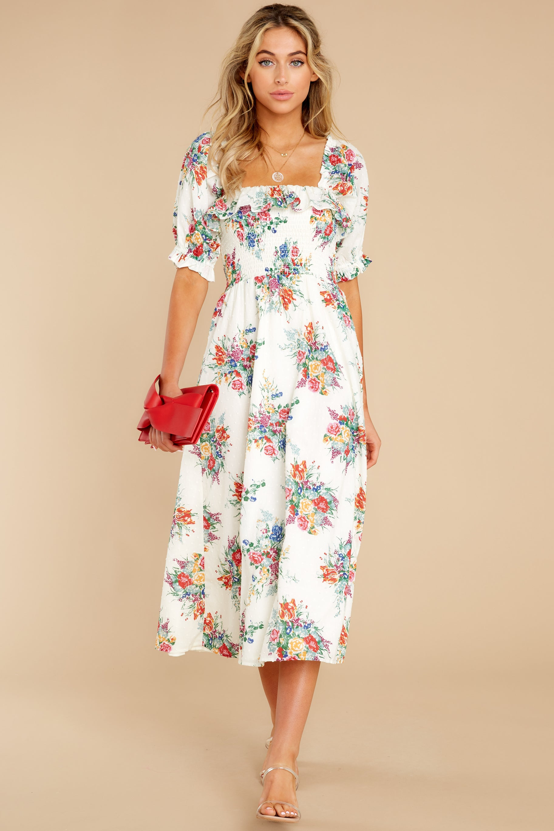 2 Sometime After Ivory Floral Print Maxi Dress at reddress.com