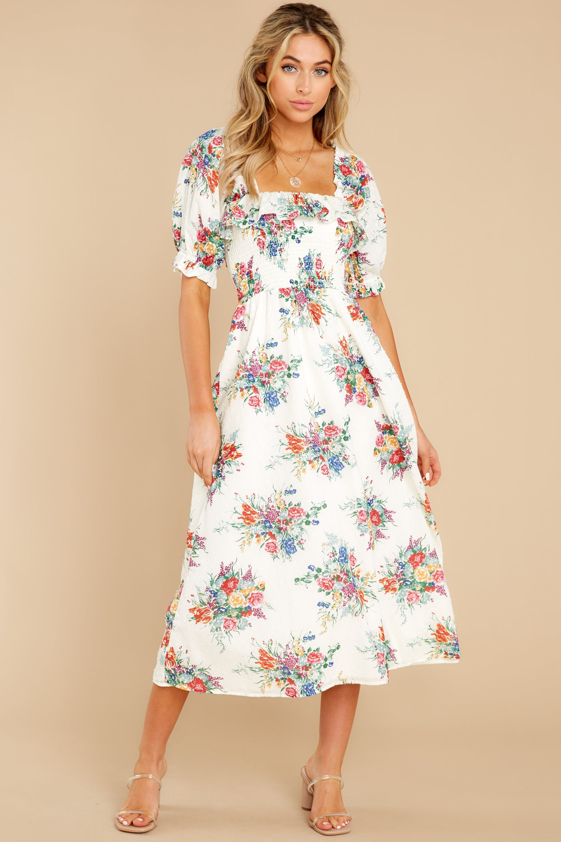5 Sometime After Ivory Floral Print Maxi Dress at reddress.com