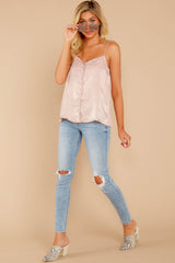 2 Sleek And Sassy Ivory Blush Satin Tank Top at reddressboutique.com