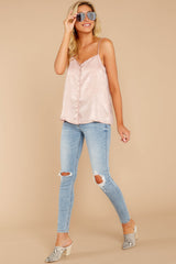 3 Sleek And Sassy Ivory Blush Satin Tank Top at reddressboutique.com