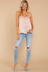 4 Sleek And Sassy Ivory Blush Satin Tank Top at reddressboutique.com