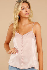 6 Sleek And Sassy Ivory Blush Satin Tank Top at reddressboutique.com