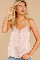 1 Sleek And Sassy Ivory Blush Satin Tank Top at reddressboutique.com