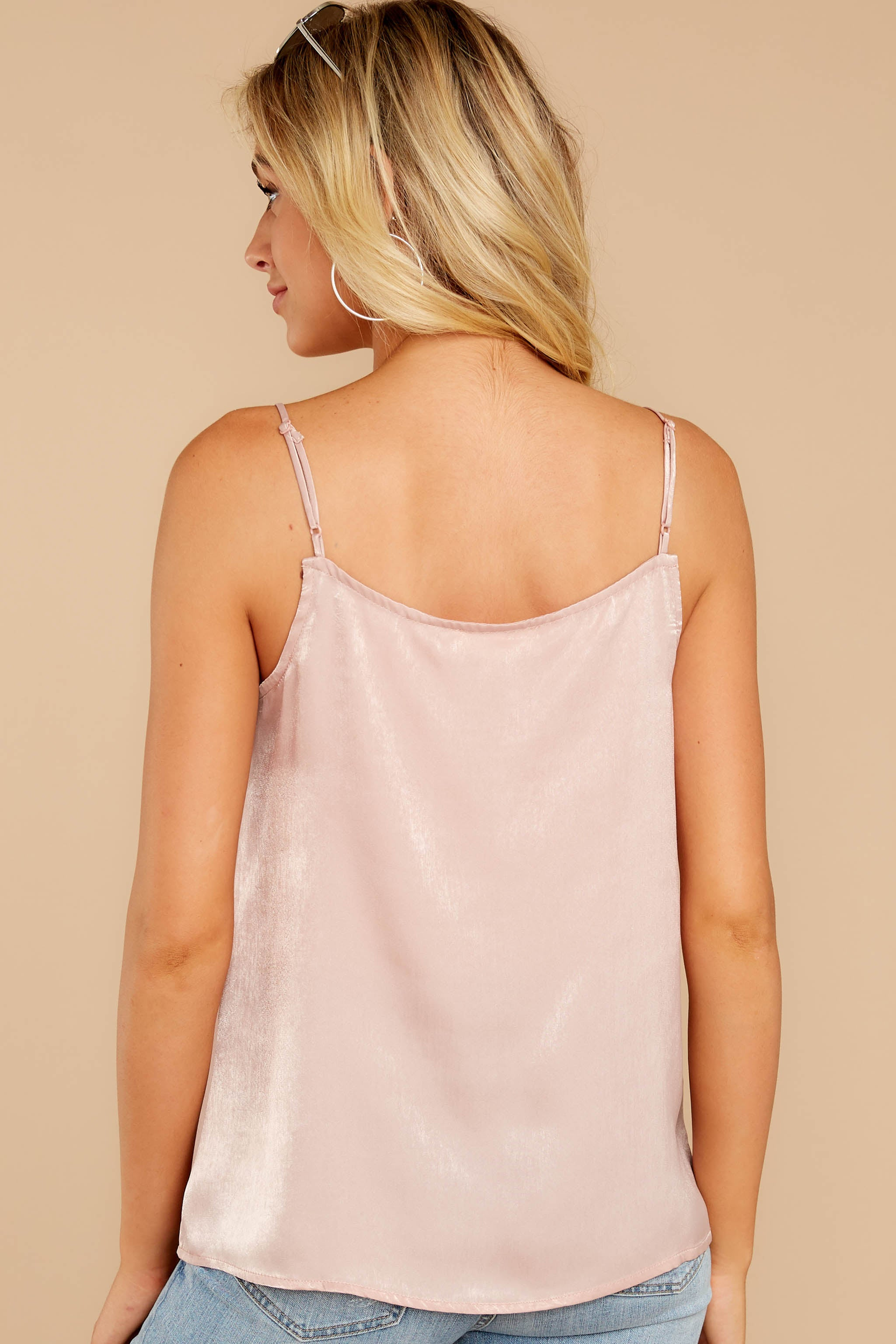 7 Sleek And Sassy Ivory Blush Satin Tank Top at reddressboutique.com