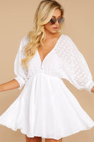 V-neck Short Plunging Neck Summer Fall Full-Skirt Dolman Sleeves Gathered Elasticized Empire Waistline Dress