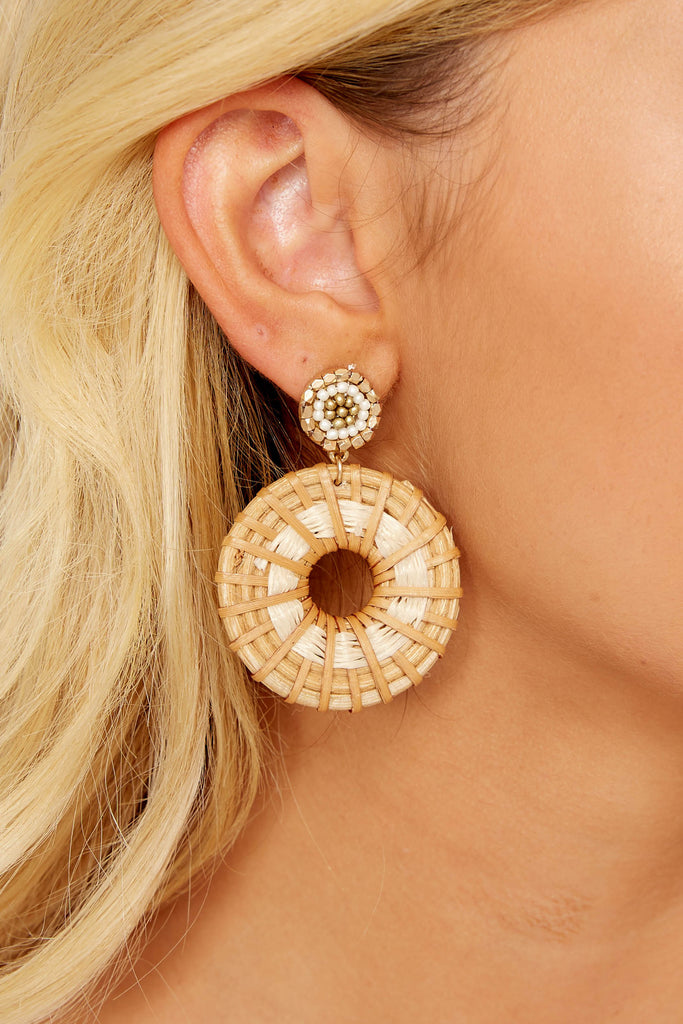1 To Oblige You White Woven Earrings at reddressboutique.com