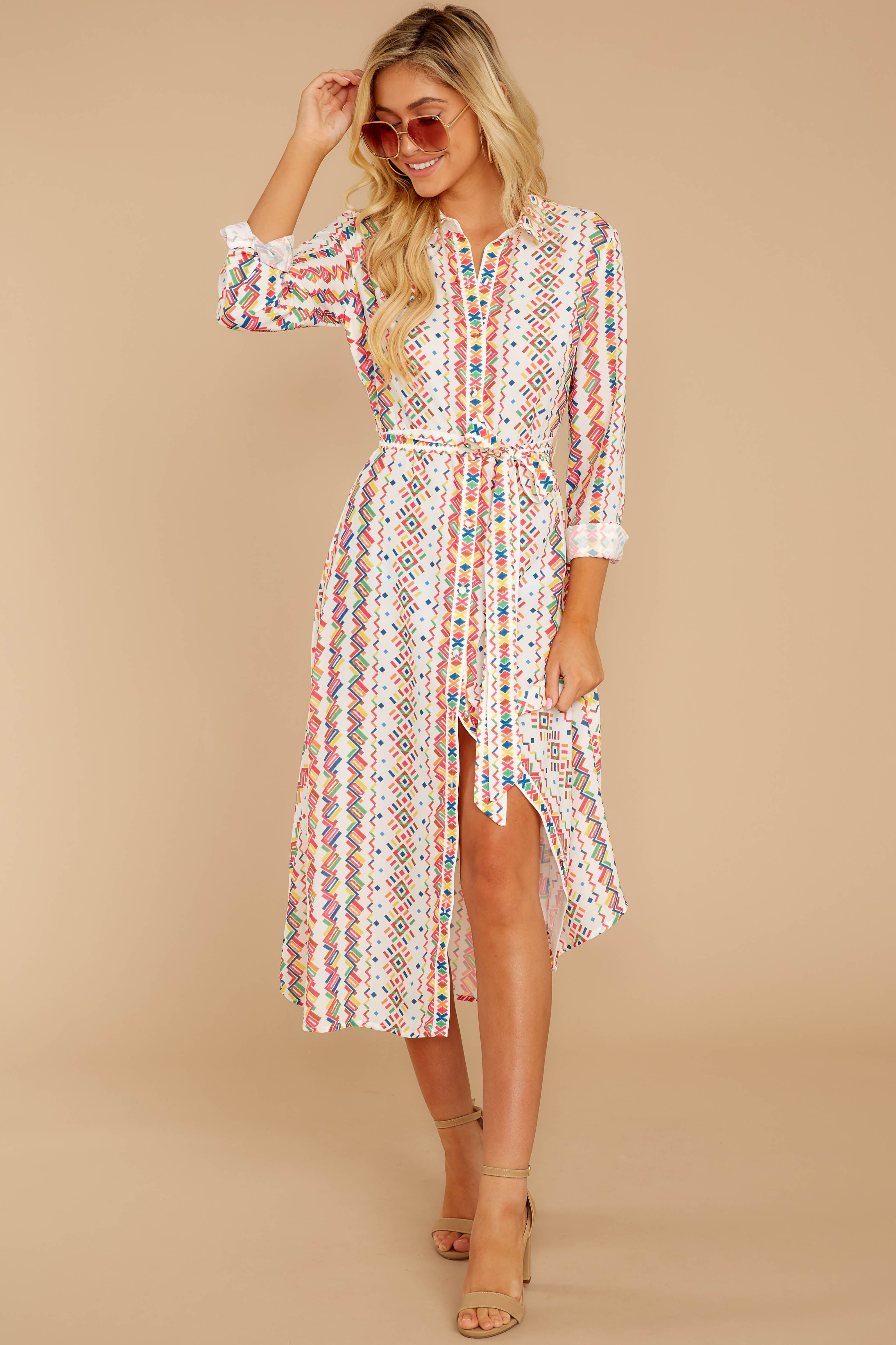 5 Bypass The Mainstream Pink Multi Print Midi Dress at reddressboutique.com