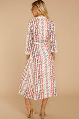 7 Bypass The Mainstream Pink Multi Print Midi Dress at reddressboutique.com