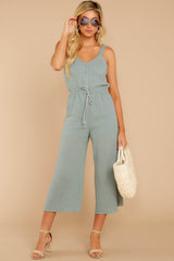 2 Late Summer Evenings Sage Jumpsuit at reddressboutique.com