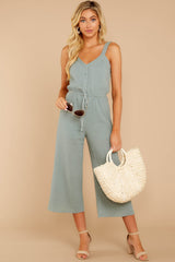 3 Late Summer Evenings Sage Jumpsuit at reddressboutique.com
