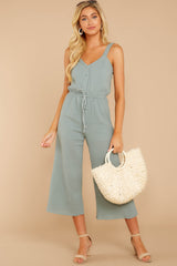 1 Late Summer Evenings Sage Jumpsuit at reddressboutique.com
